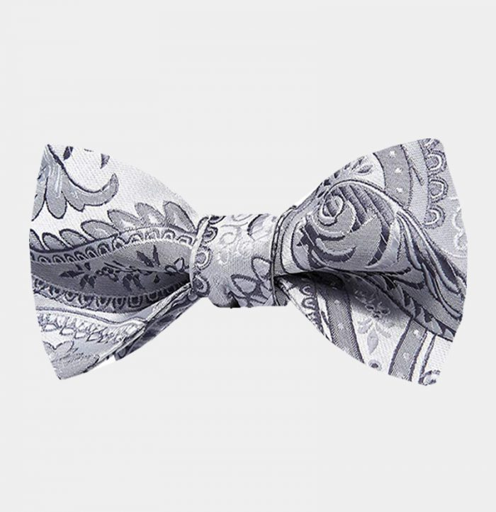 Silver Grey Paisley Bow Tie For Men from Gentlemansguru.com