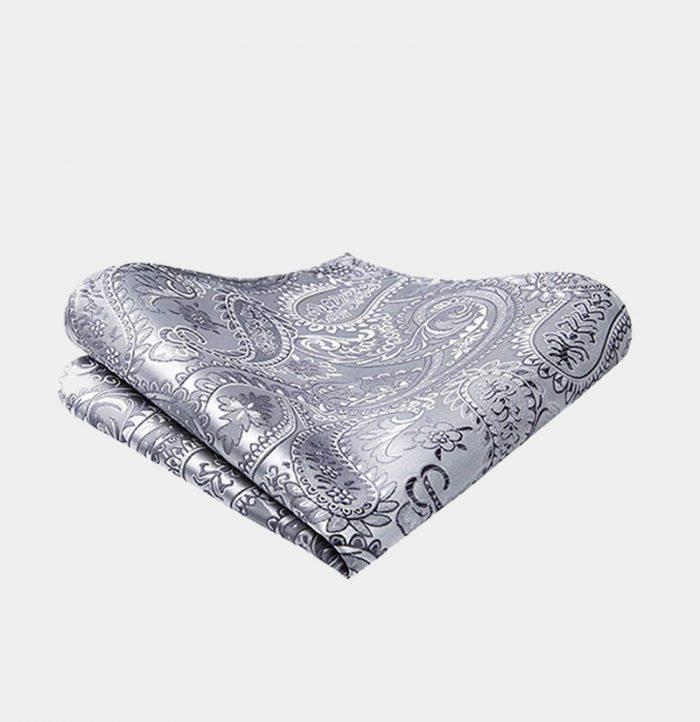 Silver Grey Paisley Pocket-Square-Handkerchief from Gentlemansguru.com