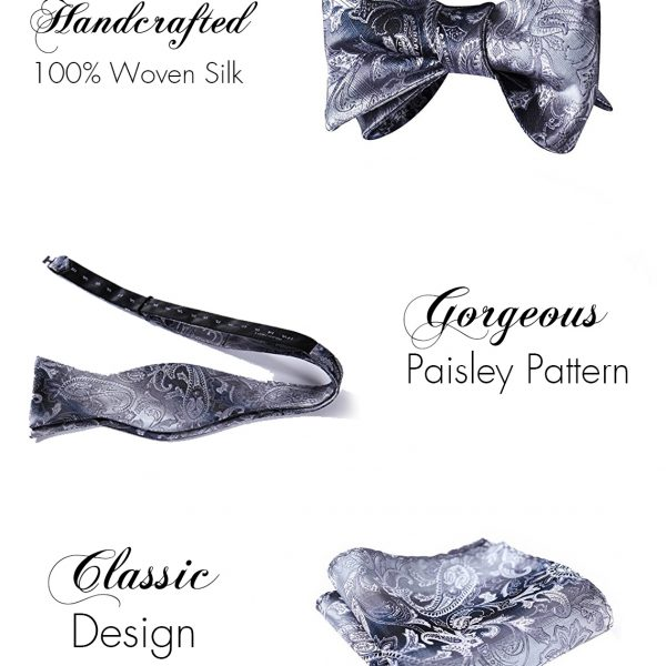 Silver Paisley Bow Tie And Pocket Square Set