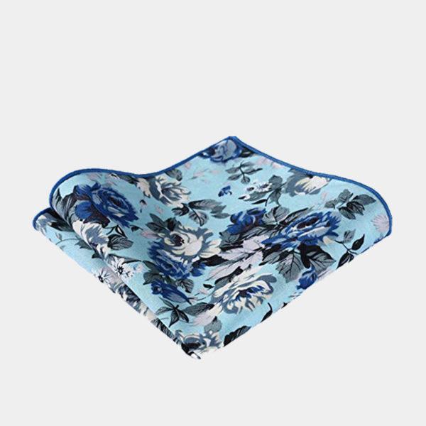 Sky Blue Floral Pocket Square-Handkerchief from Gentlemansguru.com