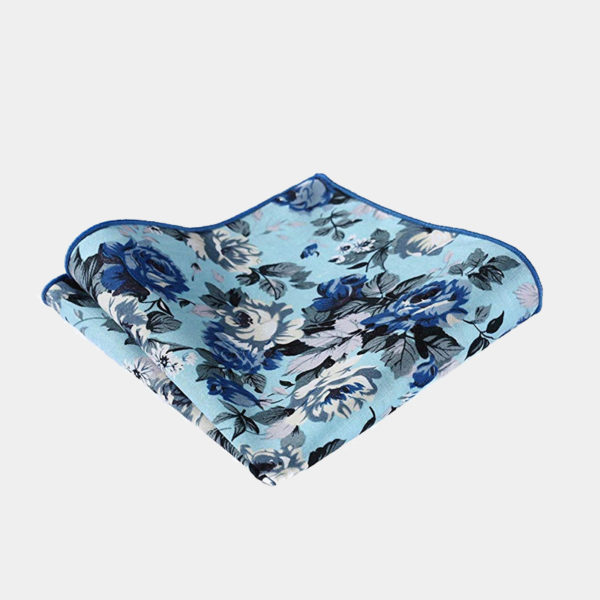 Sky Blue Floral Pocket-Sque-Handkerchief from Gentlemansguru.com