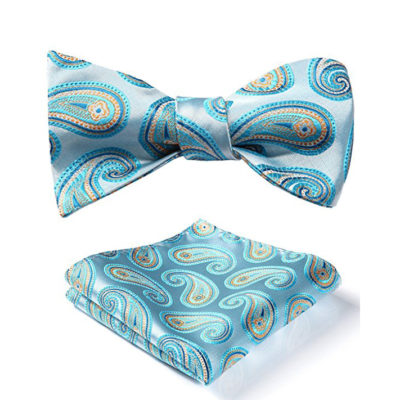 Sky Blue Paisley Bow Tie And Pocket Square
