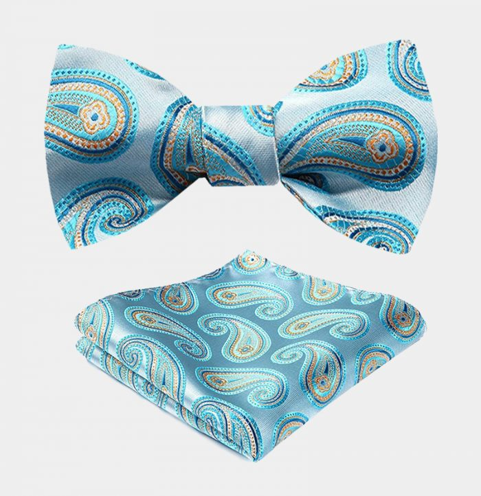 Sky Blue Paisley Bow Tie Set from Gentlemansguru.com