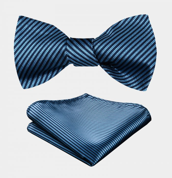 Steel Blue Bow Tie Set With Stripes from Gentlemansguru.com