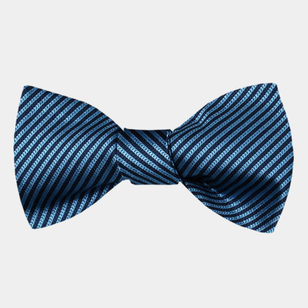 Steel Blue Striped Bow Tie For Men from Gentlemansguru.com