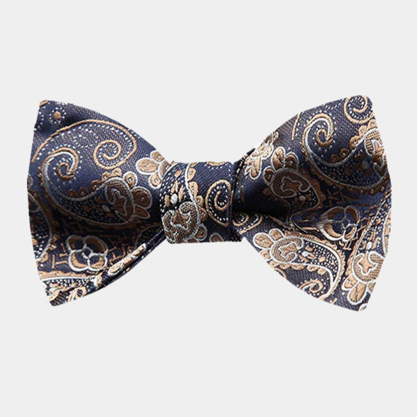 Tan Paisley Bow Tie For Men from Gentlemansguru.com