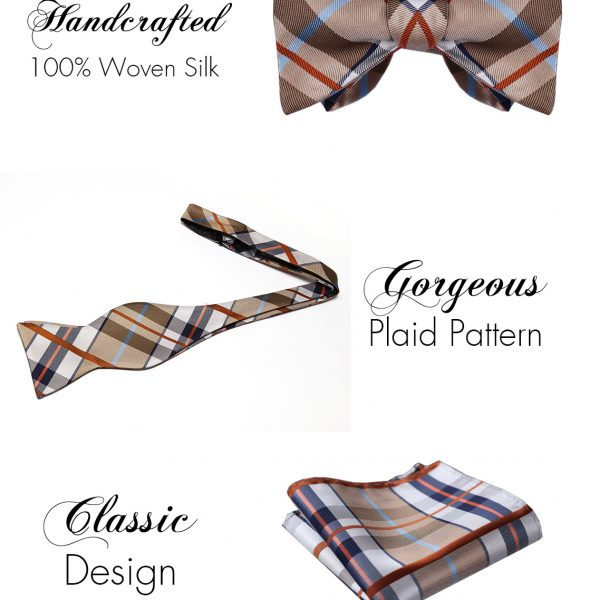 Tan Plaid Bow Tie And Pocket Square Set