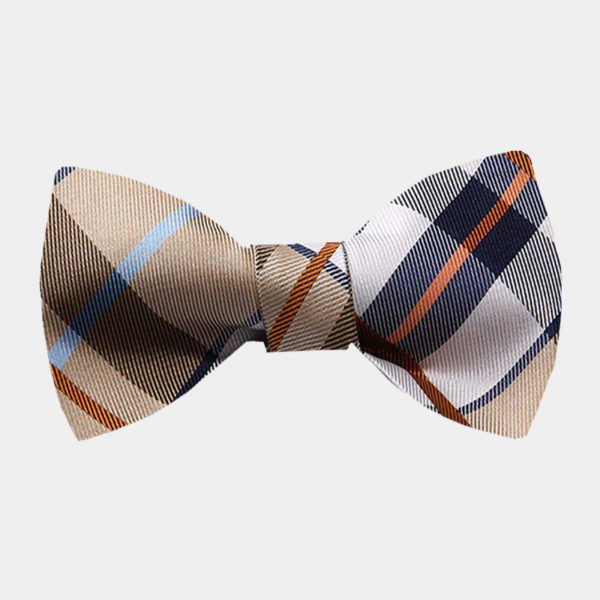 Tan Plaid Bow Tie For Sale from Gentlemansguru.com