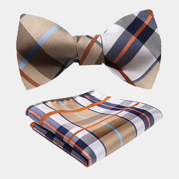 Tan Plaid Bow Tie Set-from Gentlemansguru.com