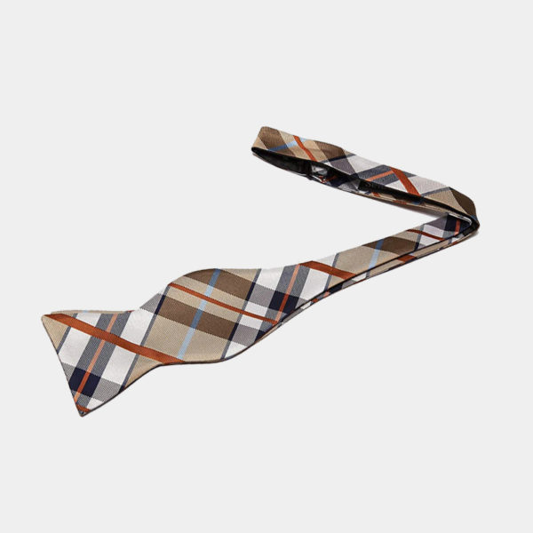 Tan Plaid Self-Tie Bow Tie from Gentlemansguru.com