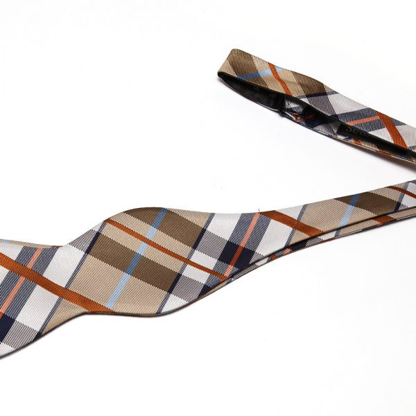 Tan Plaid Self Tie Bow Tie