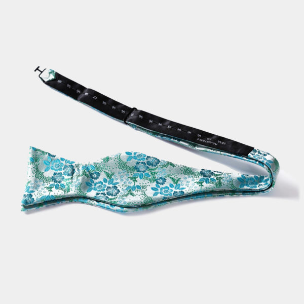 Turauoise Floral Self-Tie Bow Tie from Gentlemansguru.com
