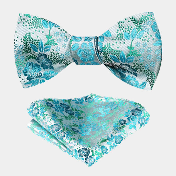 Turquoise Floral Bow Tie Set from Gentlemansguru.com