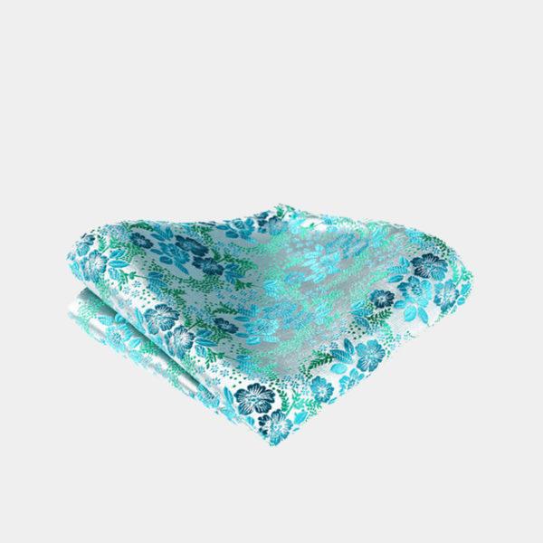 Turquoise Floral Pocket-Sque-Handkerchief from Gentlemansguru.com
