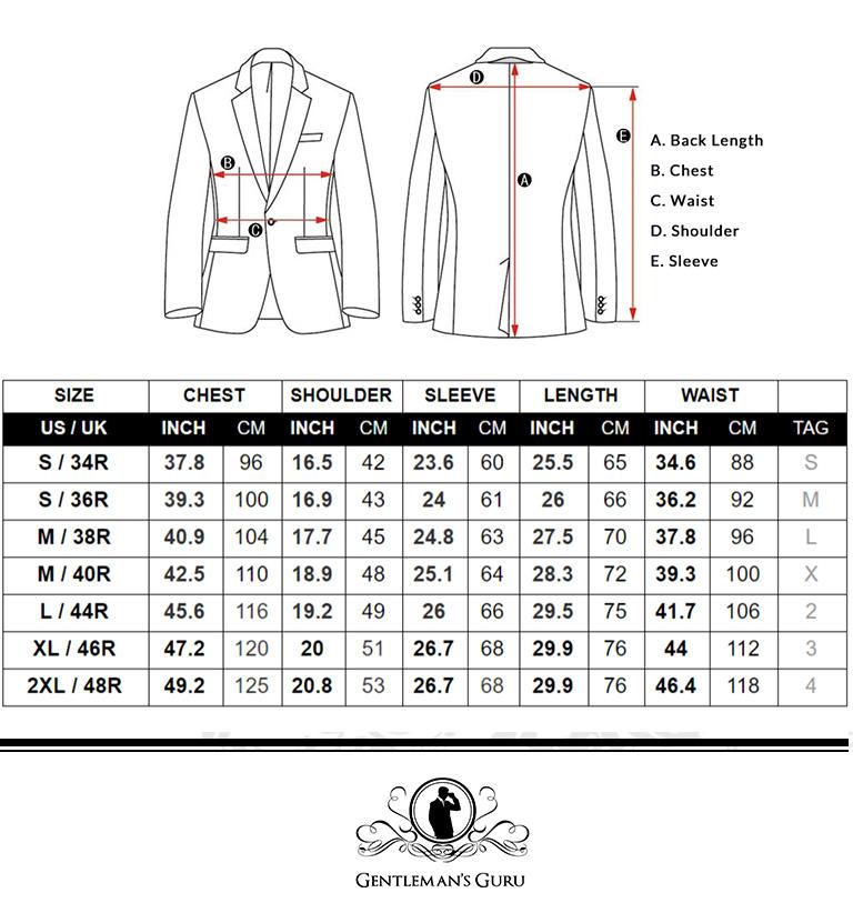 Velvet Tuxedo Jacket Size Chart