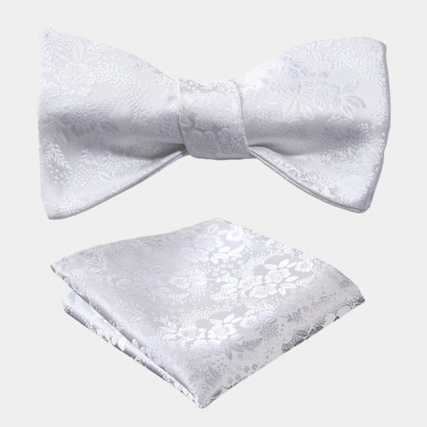 White Floral Bow Tie Set from Gentlemansguru.com