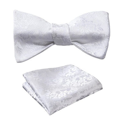 White Floral Bow Tie Set