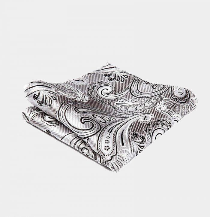 White Paisley Pocket-Square-Handkerchief from Gentlemansguru.com