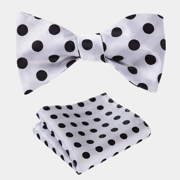 White Polka Dot Bow Tie Set from Gentlemansguru.com