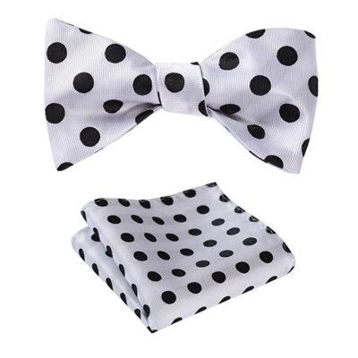 White Polka Dot Bow Tie Set
