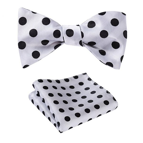 White Polka Dot Bow Tie Set