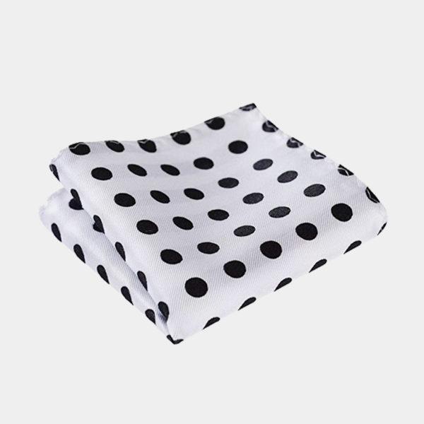 White Polka Dot Pocket Square-Handkerchief from Gentlemansguru.com