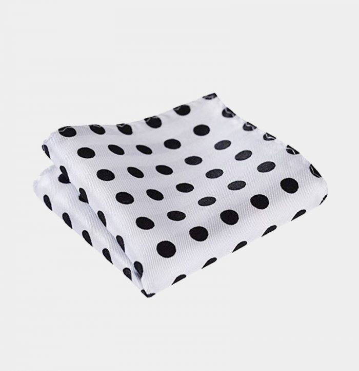 White Polka Dot Pocket Square-Handkerchief from Gentlemansguru.com