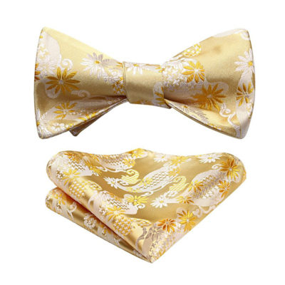 Yellow Floral Bow Tie Set