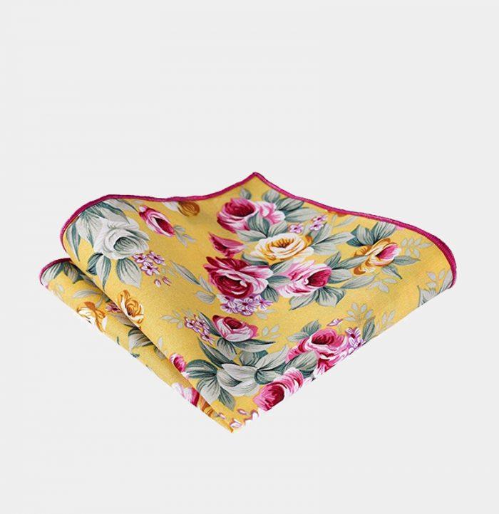Yellow Floral Pocket-Sque-Handkerchief from Gentlemansguru.com