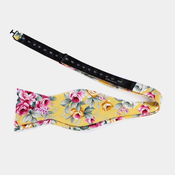 Yellow Floral Self-Tie Bow Tie from Gentlemansguru.com