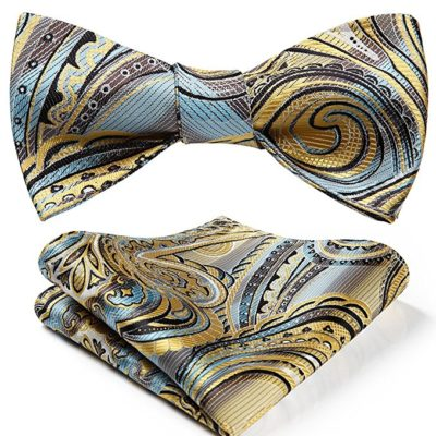 Yellow Paisley Bow Tie And Pocket Square