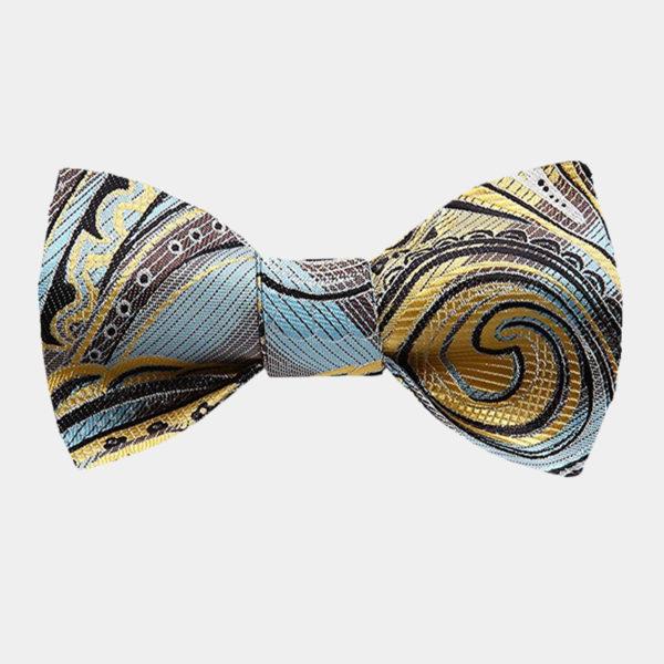 Yellow Paisley Bow Tie For Men from Gentlemansguru.com