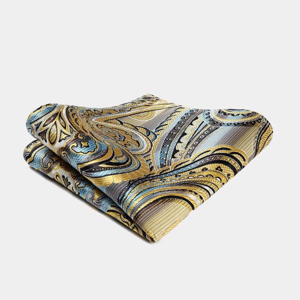 Yellow Paisley Pocket-Square-Handkerchief from Gentlemansguru.com