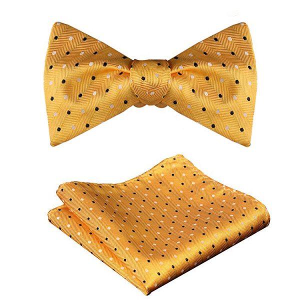 Yellow Polka Dot Bow Tie And Set