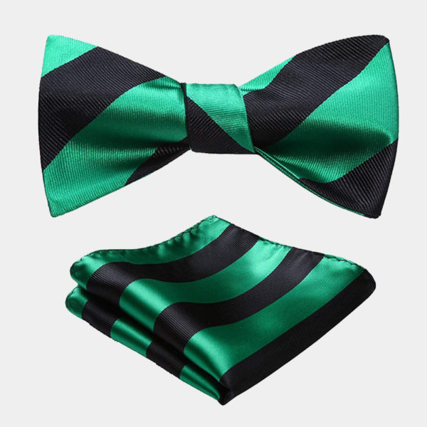 s Green And Black Striped Bow Tie Set from Gentlemansguru.com