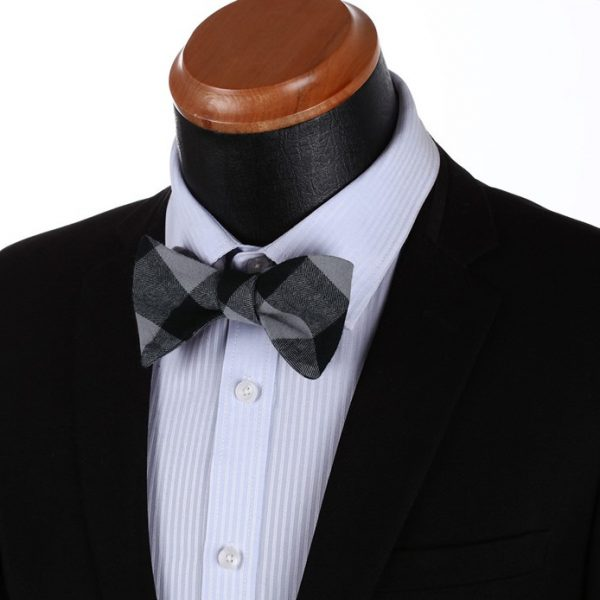 Black And Gray Plaid Bow Tie
