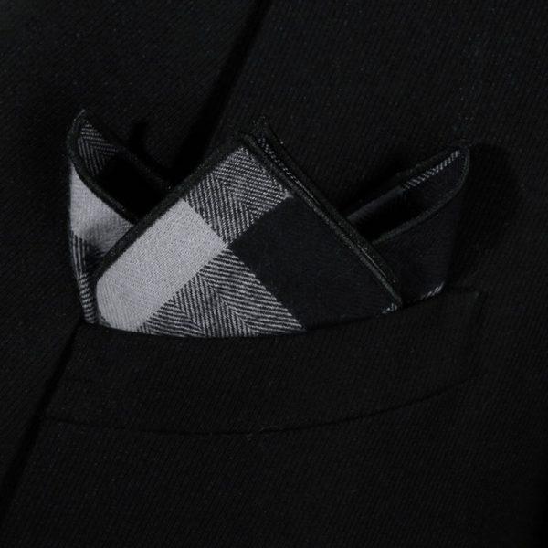 Black And Gray Plaid pocket Square
