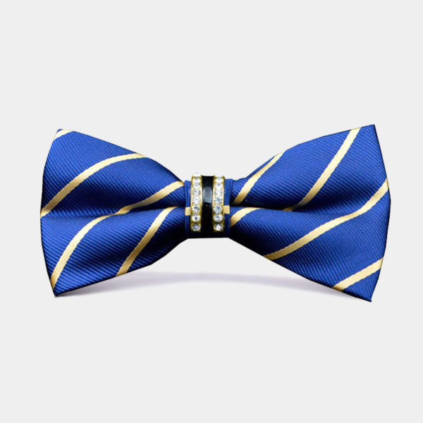 Blue-And-Gold-Bow-Tie-With Crystal Rhinestone from-Gentlemansguru.com