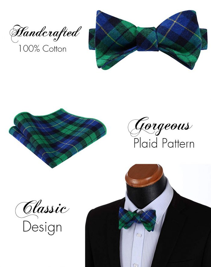 Blue And Green Plaid Bow Tie Set