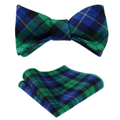 Blue And Green Plaid Bow Tie Sets