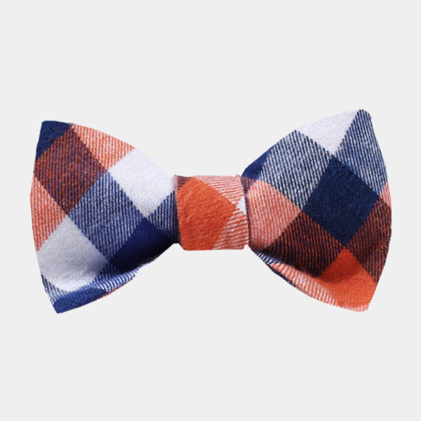 Blue And Ornage Plaid Bow Tie For Sale from Gentlemansguru.com