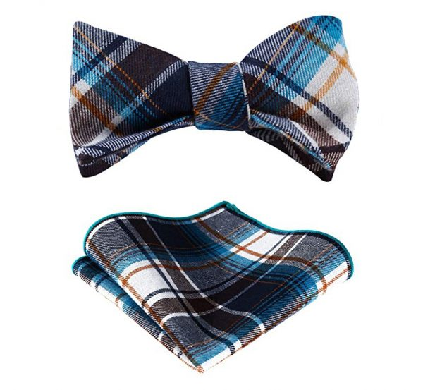 Brown And Blue Plaid Bow Tie Set