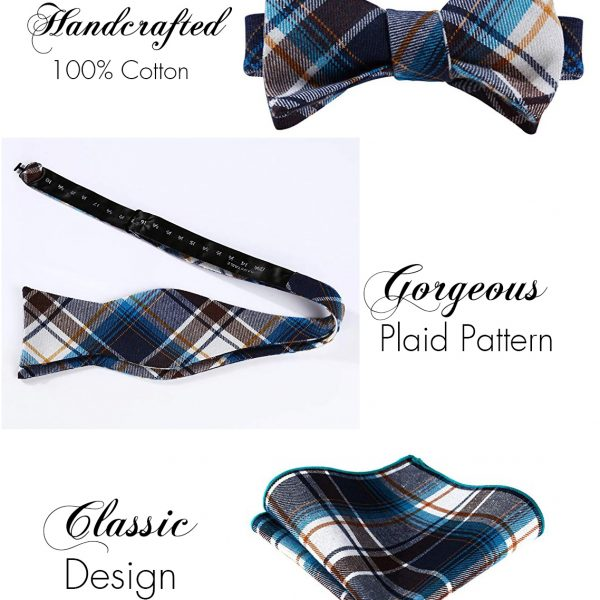 Brown And Blue Plaid Bow Tie Sets