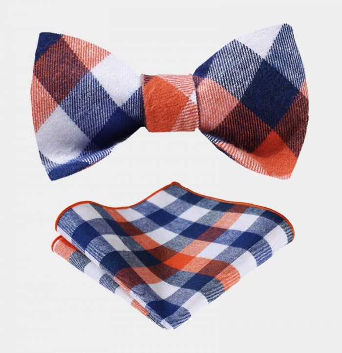 Cotton Orange And Blue Plaid Bow Tie Set-from Gentlemansguru.com