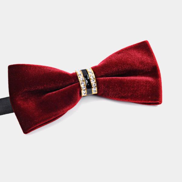 Crystal Rhineston Burgundy Velvet Bow Tie from-Gentlemansguru.com