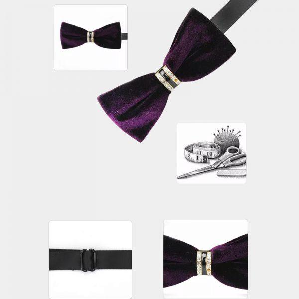 Crystal Velvet Purple Bow Tie from Gentlemansguru.com