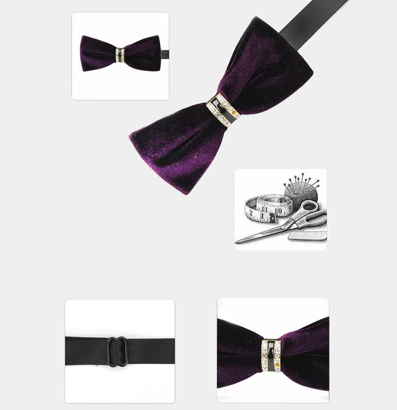 Crystal Velvet Purple Bow Tie from Gentlemansguru.com