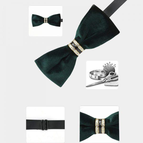 Dark Green Velvet Bow Tie from Gentlemansguru.com