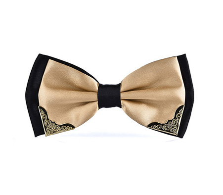 Fancy Black and Champagne Bow Tie