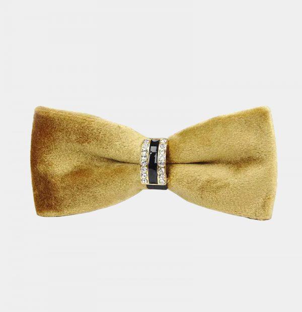 Gold Velvet Bow Tie from Gentlemansguru.com